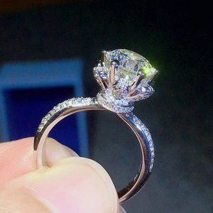 NEW 925 Sterling Silver 3 CT Diamond Flower Ring